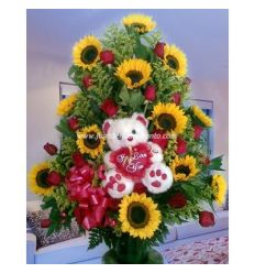 Sunflowers and Teddy