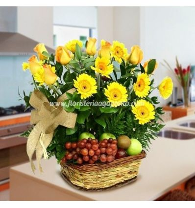 Basket of roses and fruit