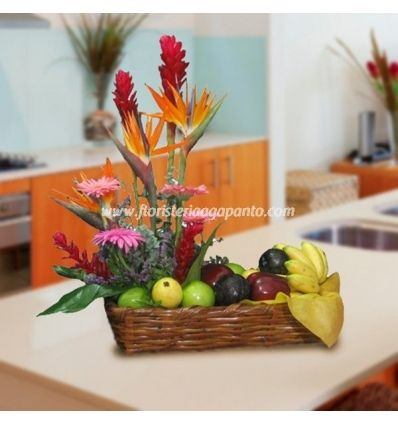 Basket of tropical fruits