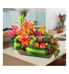 Fruit basket with lilies