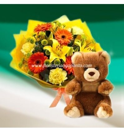 Special Bear and Bouquet