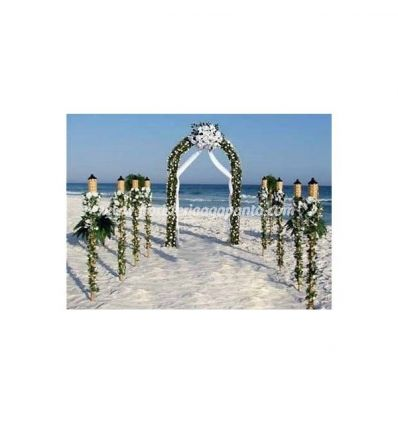 Decorations on the beach in white flowers
