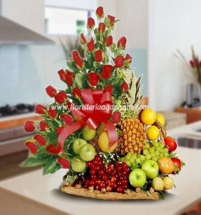 Fruit Bowl with Red Roses